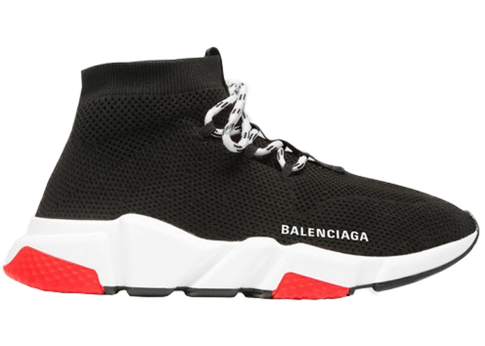 Balenciaga Speed Trainer Lace Up Black Red