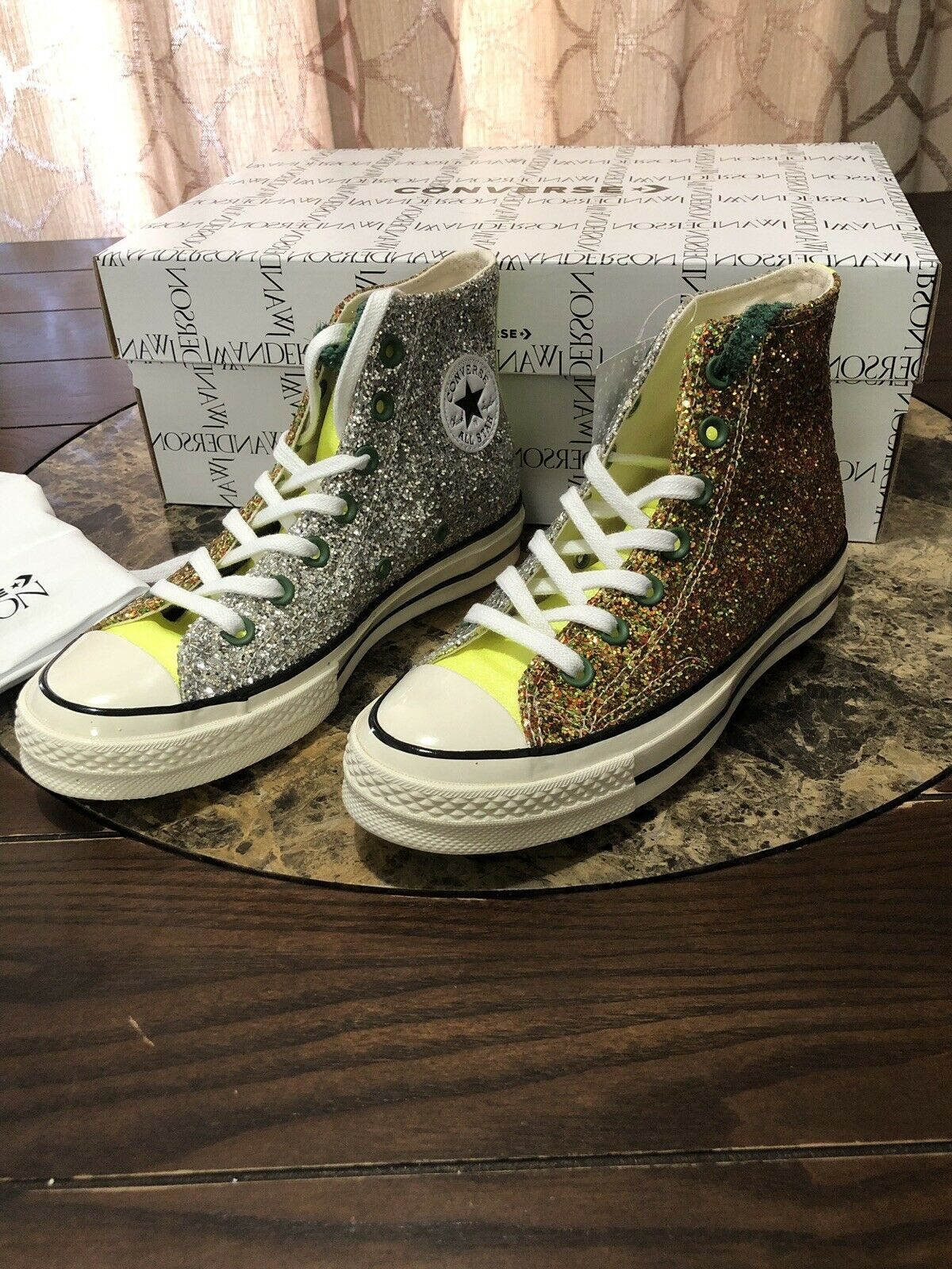 Converse Chuck Taylor All Star 70s Hi JW Anderson Glitter Gold Silver