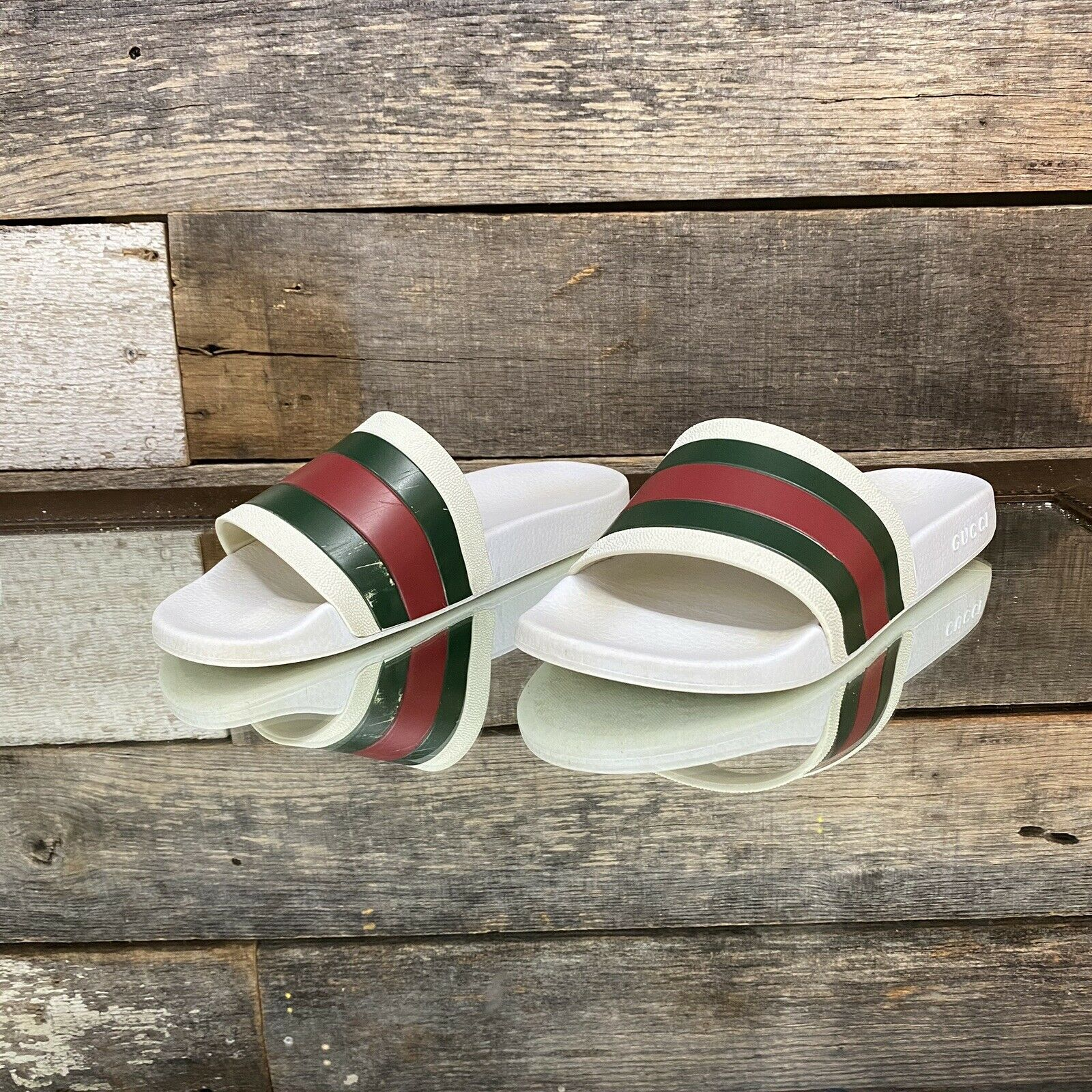 Gucci Pursuit Pool Slides White