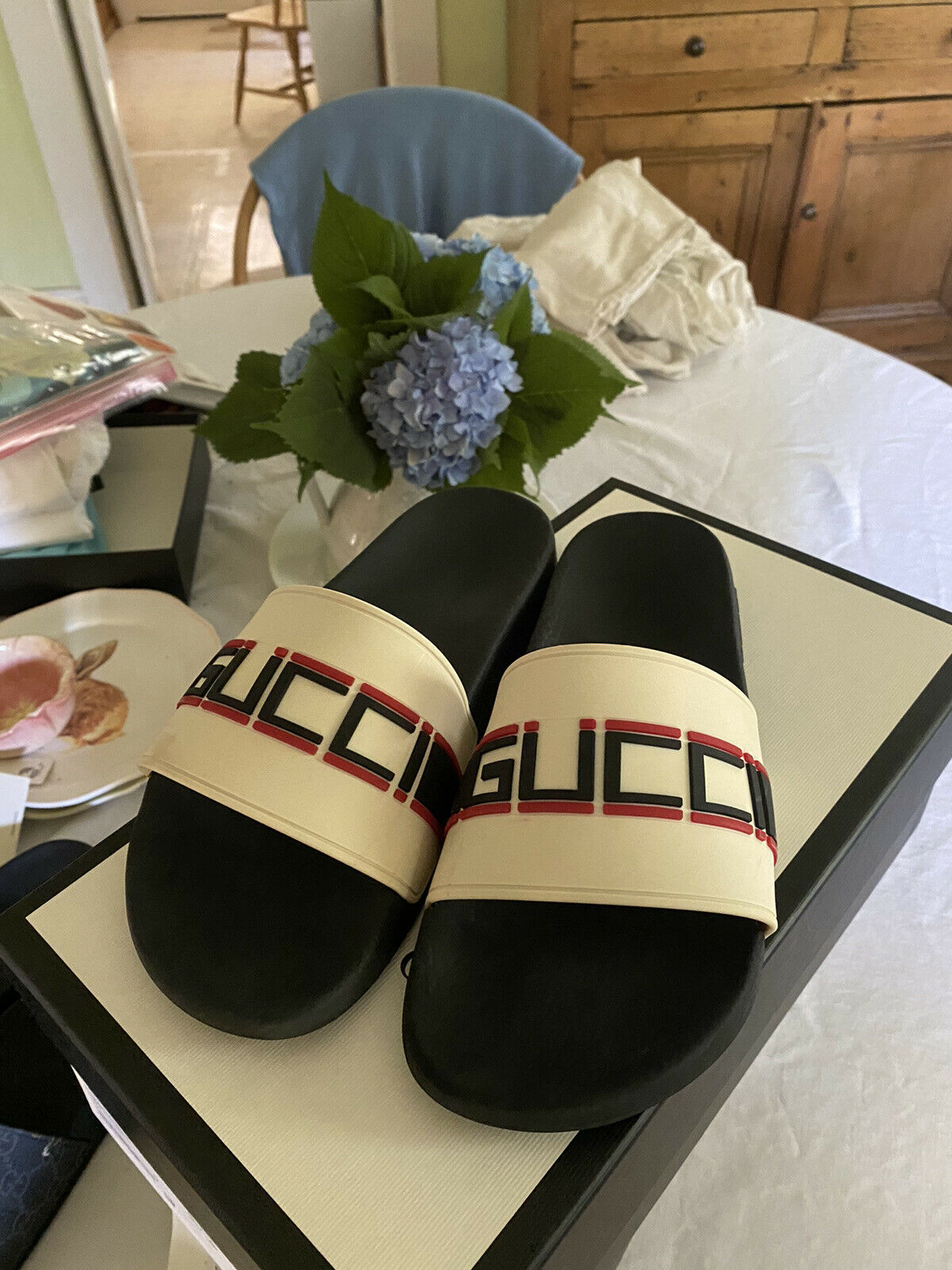 Gucci Stripe Slide White