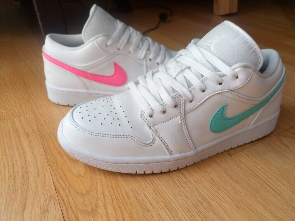 Jordan 1 Low White Multi Color Swoosh