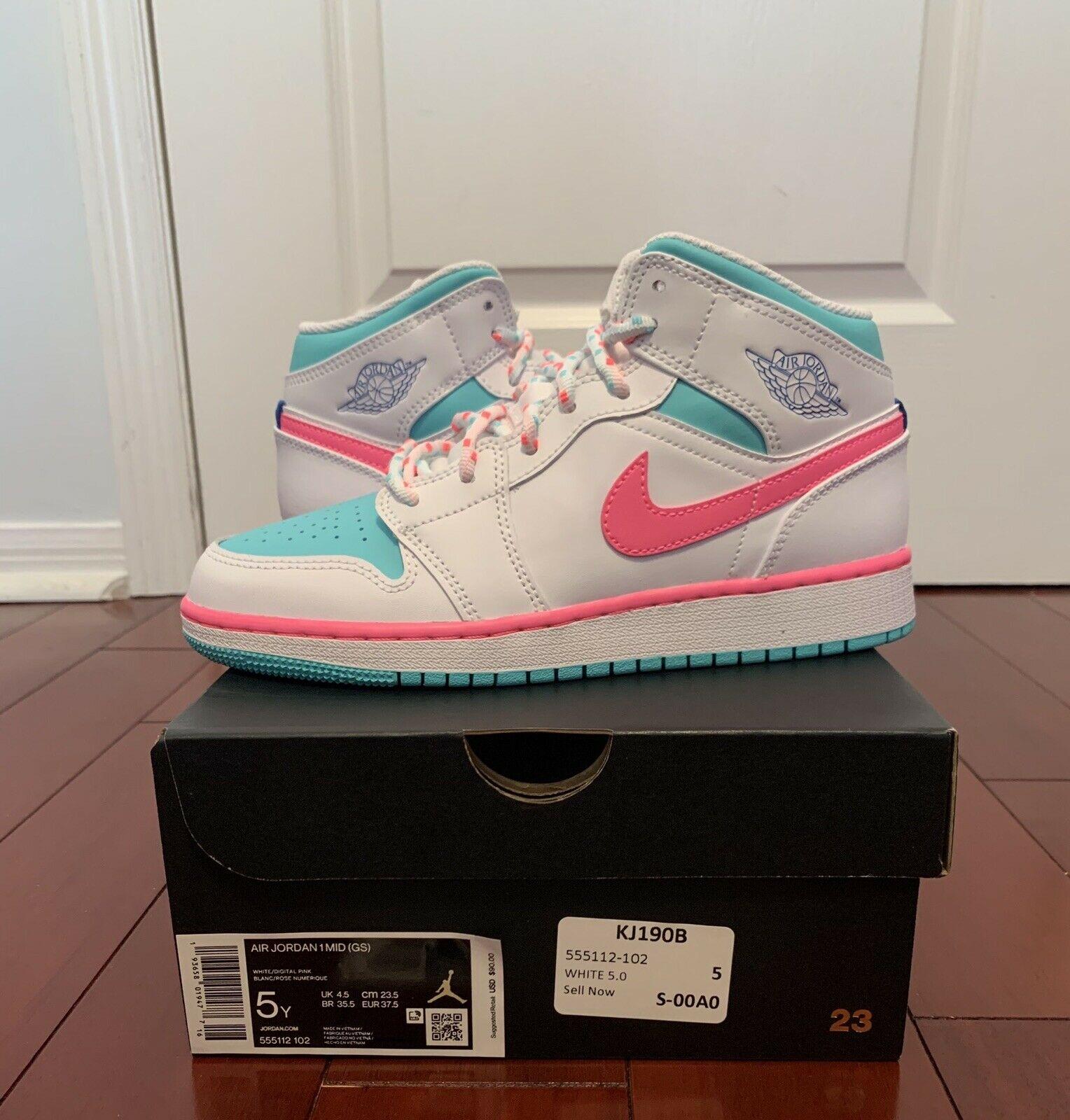 Jordan 1 Mid White Pink Green Soar GS