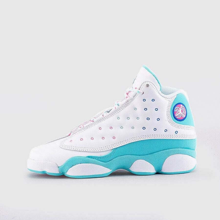 Jordan 13 Retro White Soar Green Pink GS