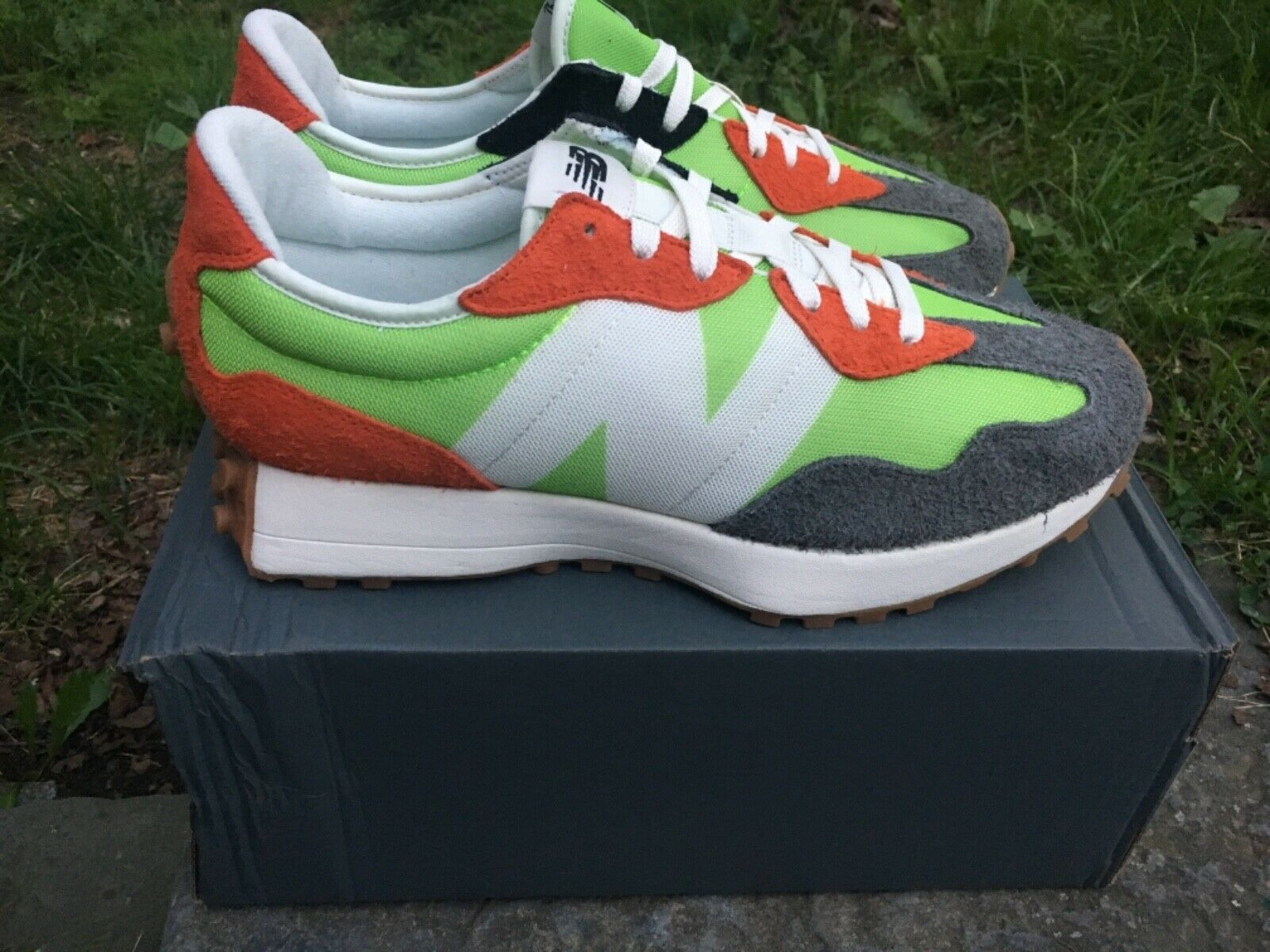 New Balance 327 Lime Green Red Grey