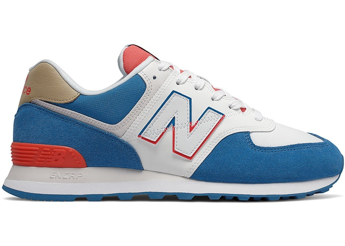 New Balance 574 White Blue Red