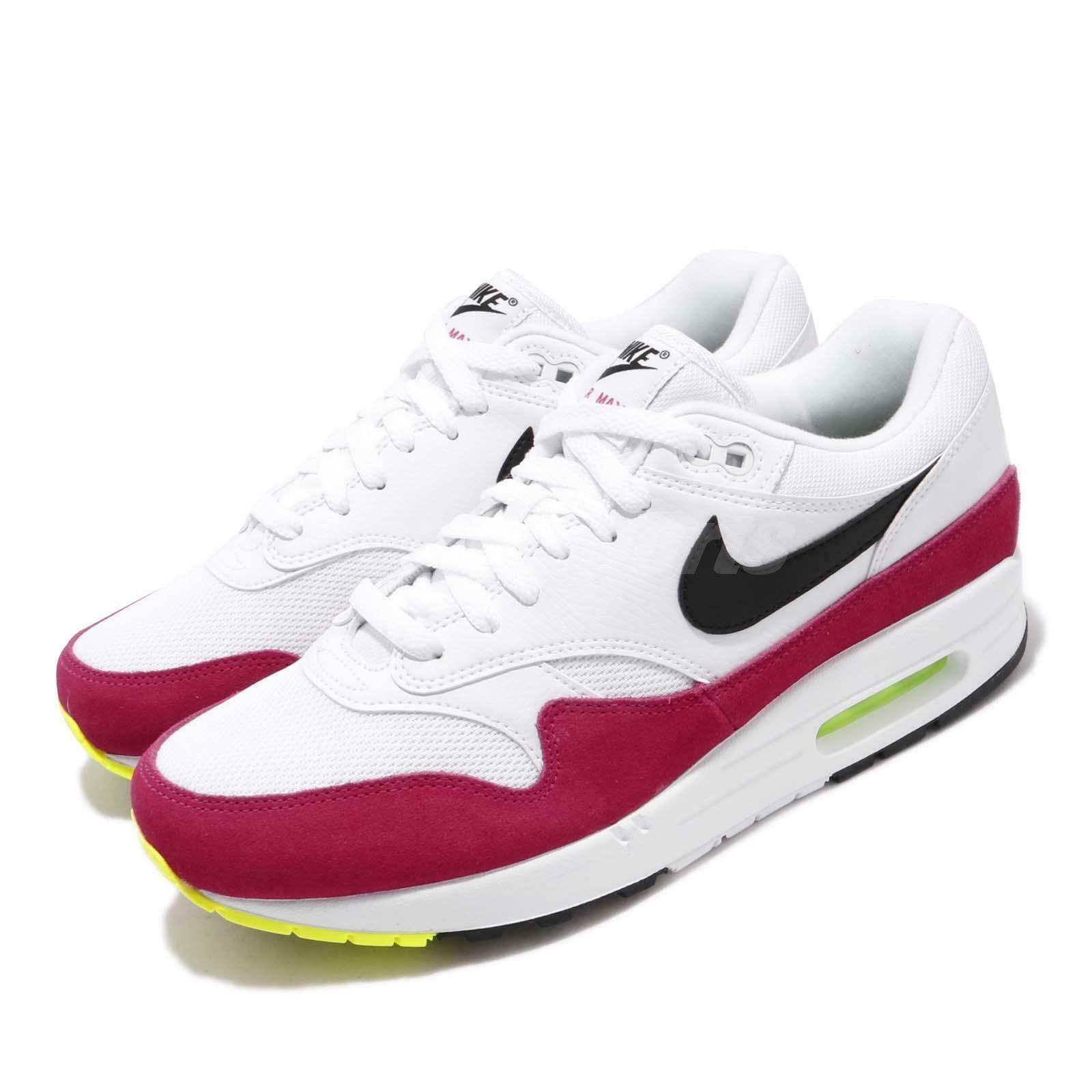 Nike Air Max 1 White Black Volt Rush Pink
