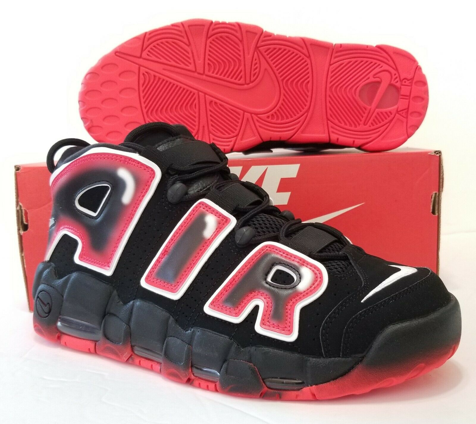Nike Air More Uptempo Black White Laser Crimson