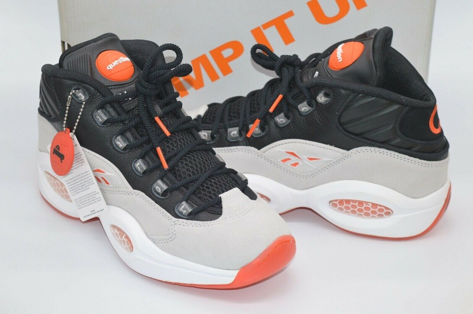 Reebok Pump Question Black Steel Orange