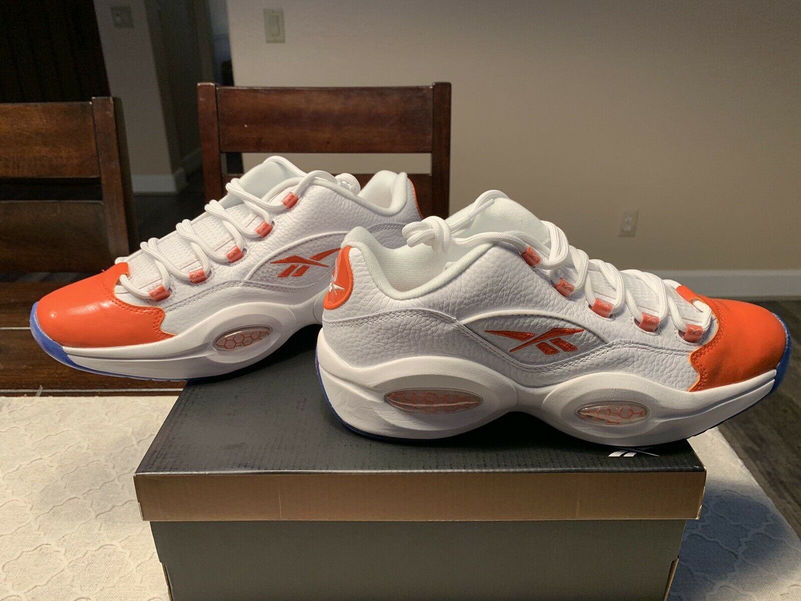 Reebok Question Low Patent Toe Orange