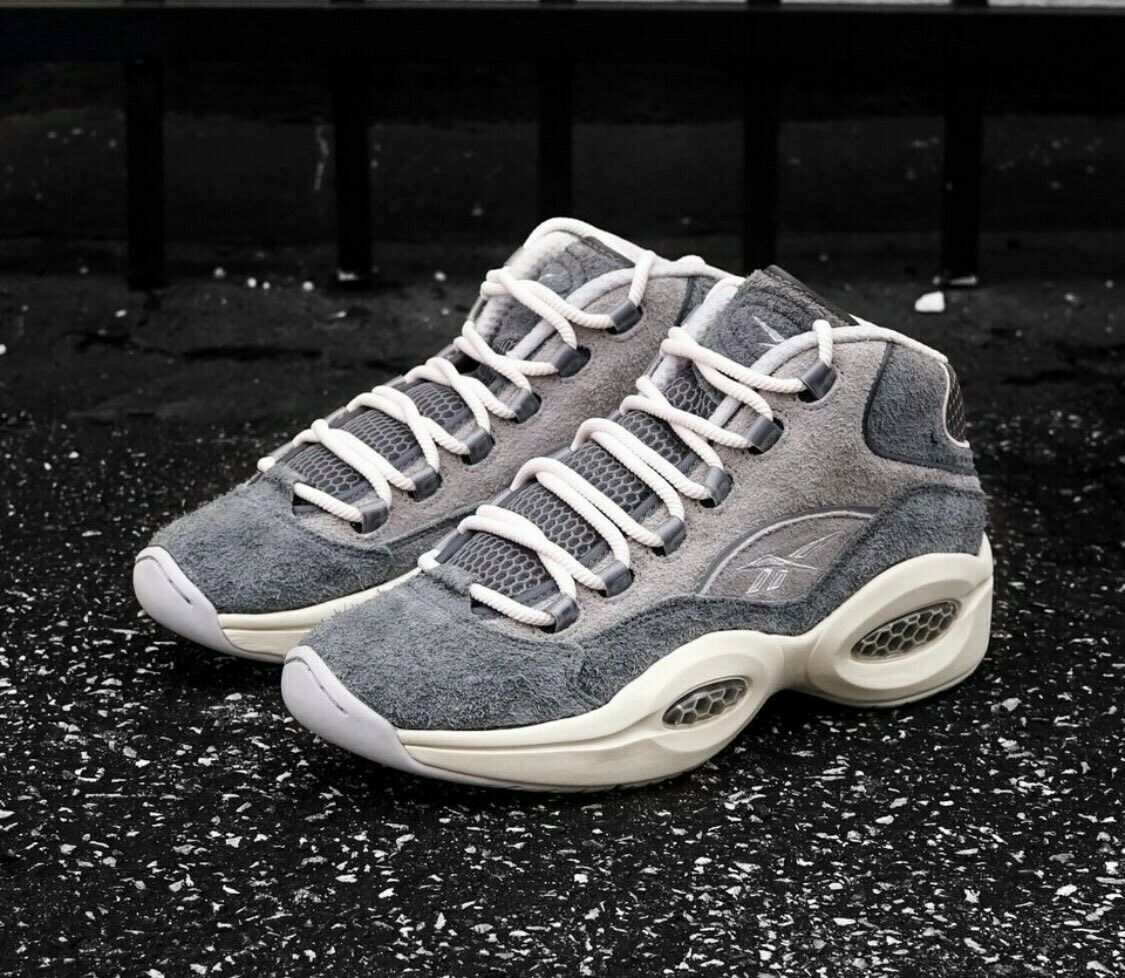 Reebok Question Mid Grey Suede