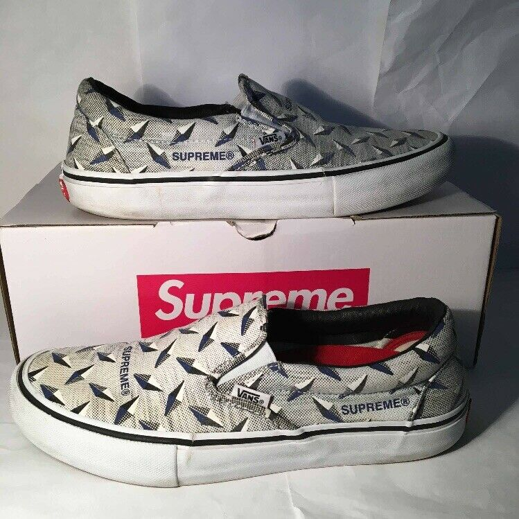 Vans Slip On Supreme Diamond Plate White
