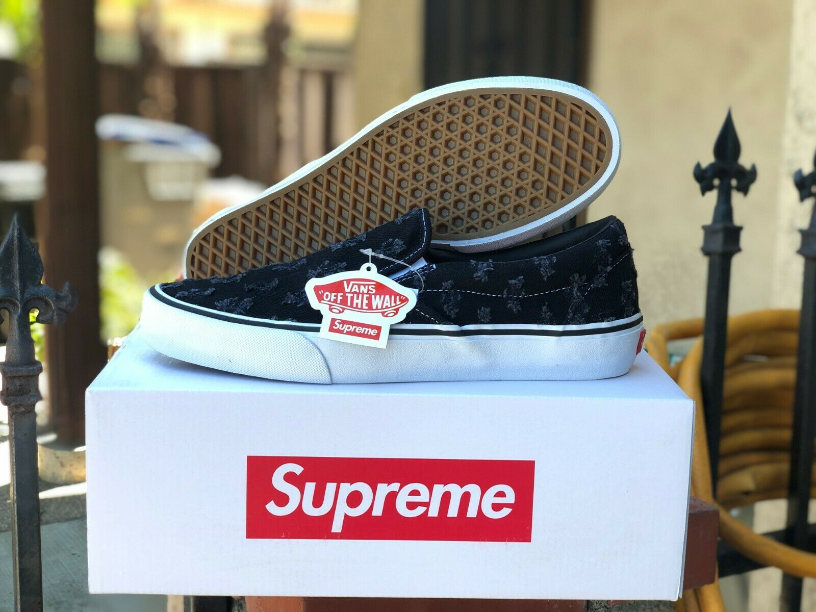 Vans Slip On Supreme Hole Punch Denim Black